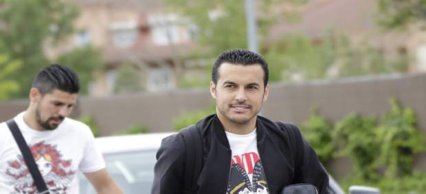 Pedro Rodríguez en la llegada a la concentración de la selección de fútbol